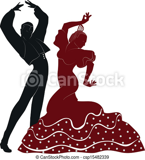 Danseurs flamenco espagnol danseurs deux typique - Danseuse flamenco dessin ...