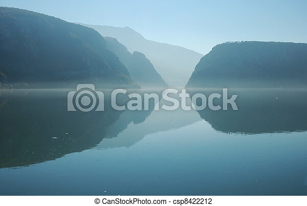 Danube river in a gorge, Romania - csp8422212