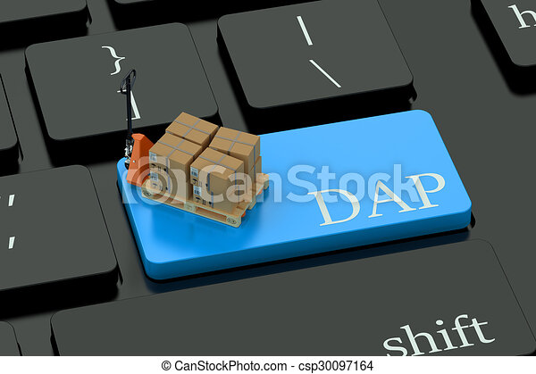 DAP deliwery concept on blue keyboard button - csp30097164