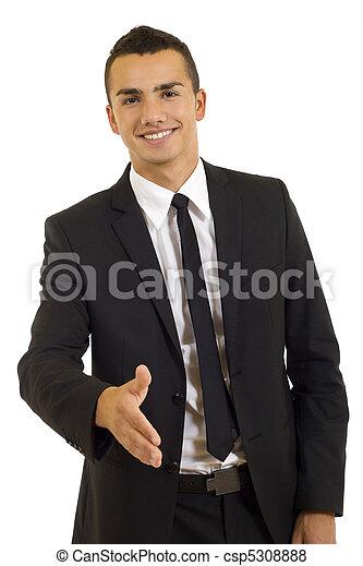 dar, aperto mão, homem negócio - csp5308888