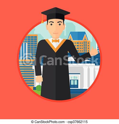 Graduado dando pulgar arriba. - csp37662115
