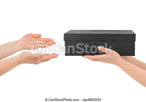 dar, caixa, mãos - csp4953043