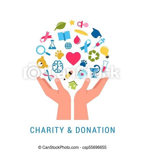 Caridad, donación y plantilla de posters - csp55696655