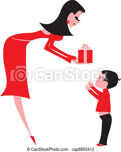 Una joven dando un regalo a un niño - csp6953412