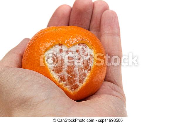 dar, coração, tangerina - csp11993586
