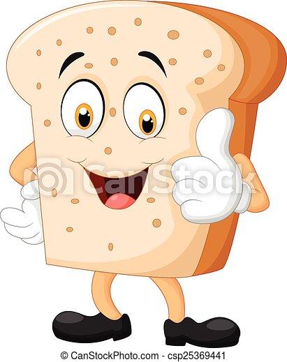 dar, fatia pão, polegar, caricatura - csp25369441