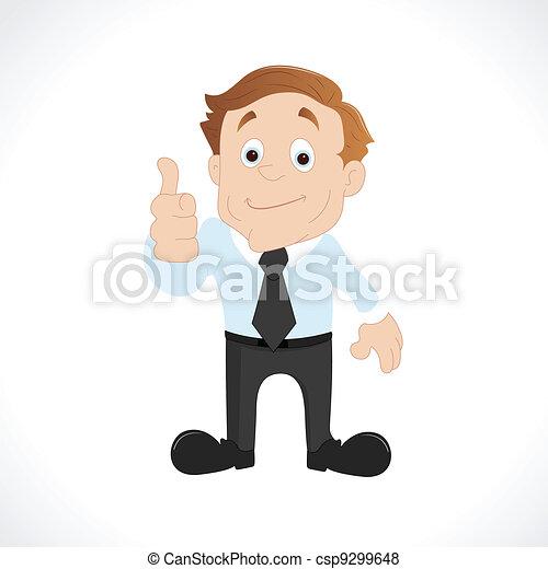 dar, homem negócios, polegares cima - csp9299648