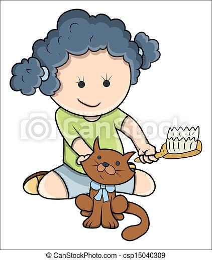 Dare Piccolo Ragazza Bagno Gatto Carino Arte Illustrazione