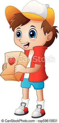 dare, ragazzo, pacchetti, cartone animato, regalo - csp59615831
