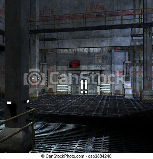 dark and scary place in a scifi setting. 3D rendering and shadow over white - csp3884240