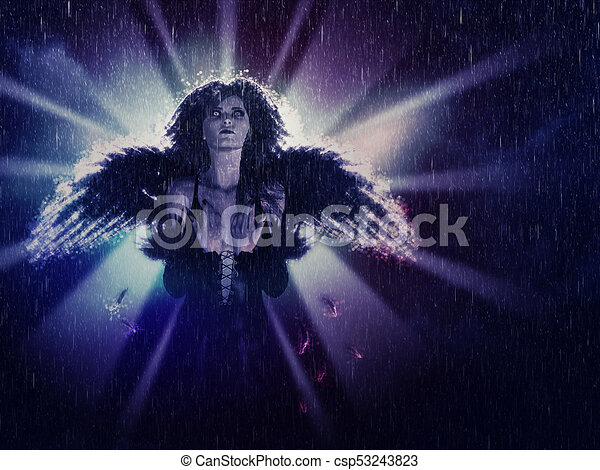 Dark Angel in the Rain - csp53243823