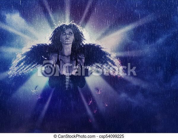 Dark Angel in the Rain - csp54099225