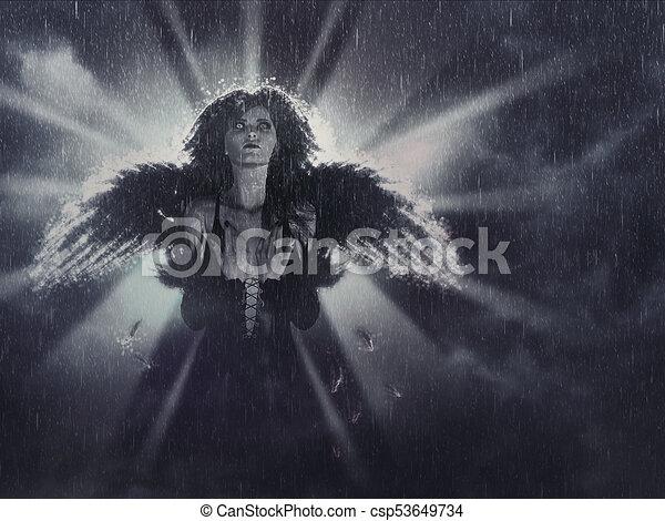 Dark Angel in the Rain - csp53649734