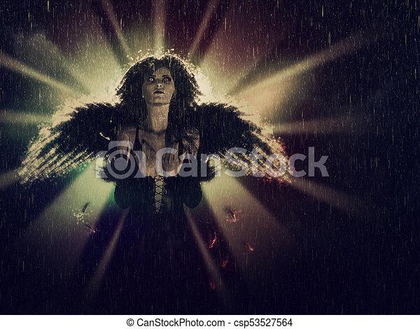 Dark Angel in the Rain - csp53527564