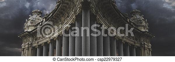 Dark architecture, over cloudy background - csp22979327
