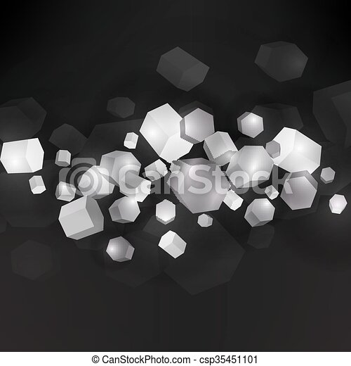 Dark background with 3D polygpns in empty black space. - csp35451101