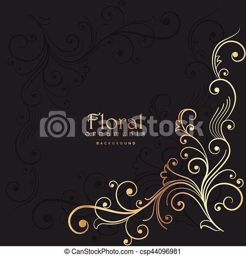 dark background with golden floral element - csp44096981