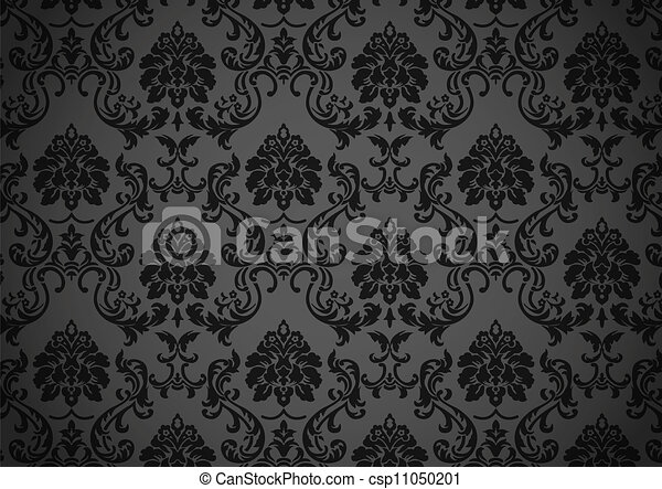 Dark baroque wallpaper vector - csp11050201