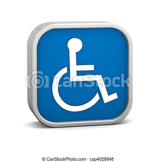 Dark Blue Accessibility Sign - csp4028848