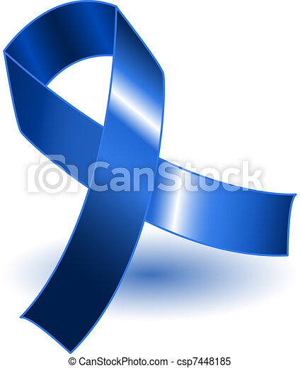 Dark blue awareness ribbon and shadow - csp7448185