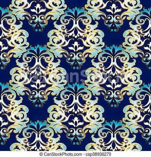 Dark Blue Baroque Seamless