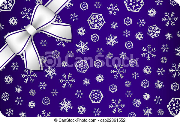 Dark blue Christmas card with silver snow flakes and ribbon in the corner - csp22361552