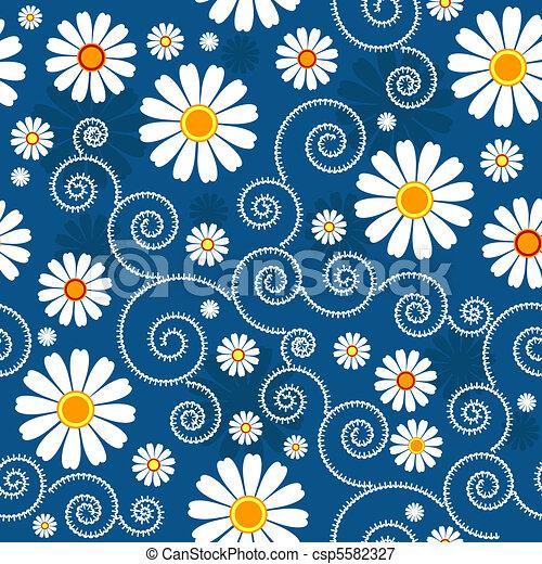 Dark blue floral pattern - csp5582327