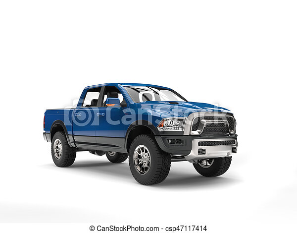 Dark Blue Modern Pick Up Truck Studio Shot