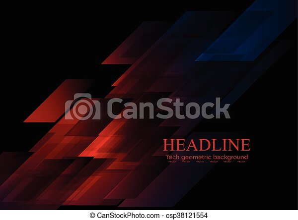 Dark Blue Red Shapes Abstract Tech Vector Background