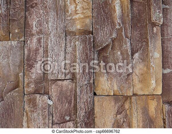 Dark Brown Decorative Stone Wall - csp66696762