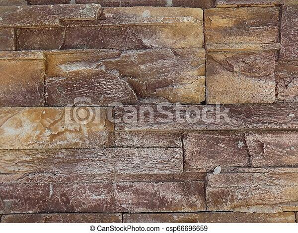 Dark Brown Decorative Stone Wall - csp66696659
