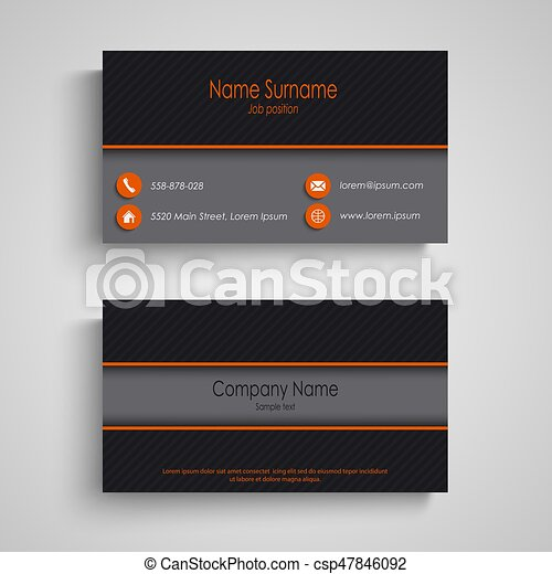 Dark business card with orange elements template - csp47846092