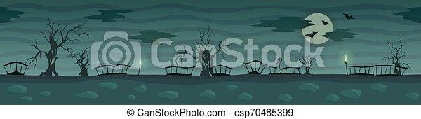 Dark Cartoon Landscape With Creepy Trees And Moon Dark Cartoon Landscape With Creepy Trees Silhouettes And Full Moon