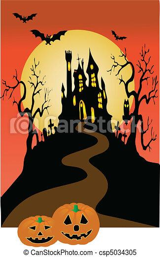 Dark castle and halloween invitation vector illustration clipart dark castle and halloween csp5034305 stopboris Gallery