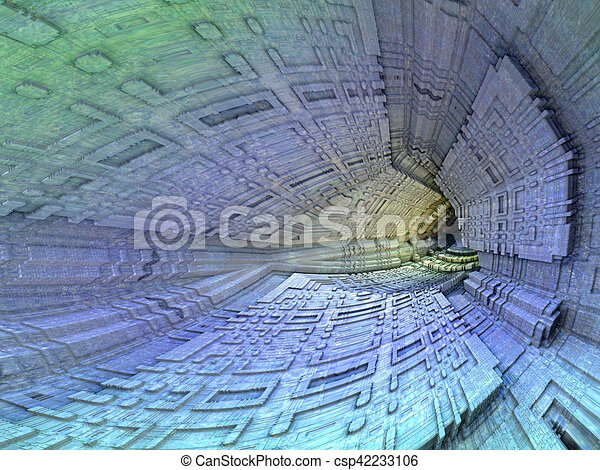Dark cavern - abstract digitally generated image - csp42233106