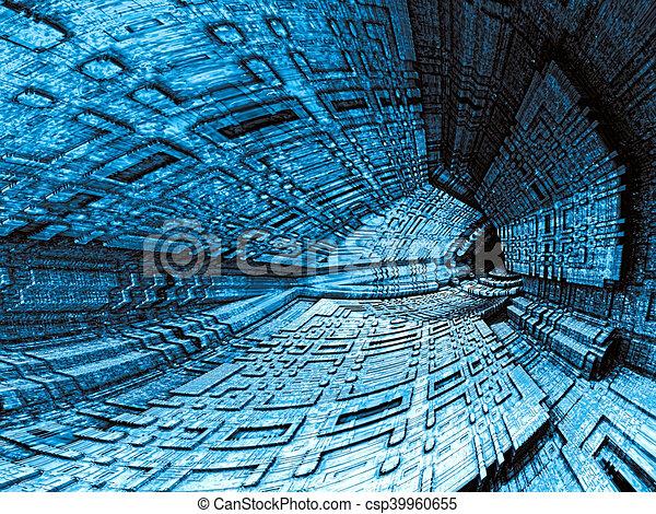 Dark cavern - abstract digitally generated image - csp39960655