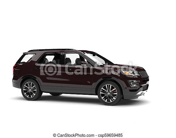 Dark chocolate brown modern SUV - side view - csp59659485