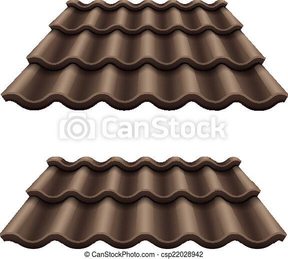 Dark chocolate corrugated tile element of roof - csp22028942
