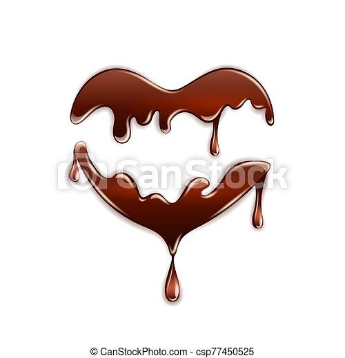 Dark chocolate in the heart shape on white background. - csp77450525
