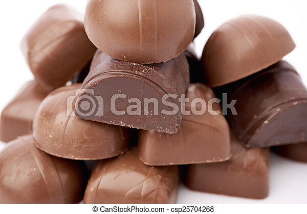 Dark chocolate on a white background - csp25704268