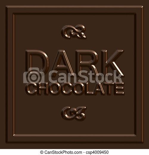 Dark Chocolate Square - csp4009450