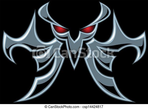 dark devil symbol on the black background