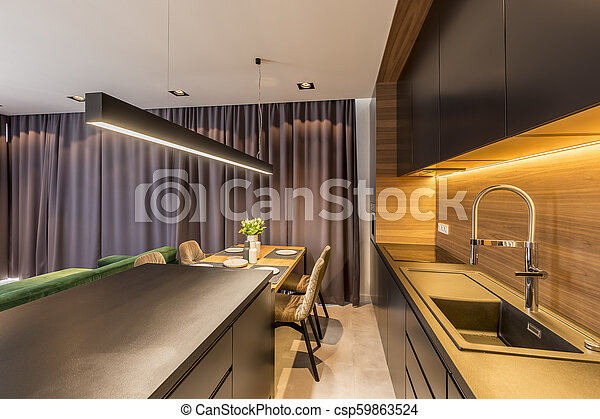 Dark Drapes Hanging In Modern Kitchen Interior With Black Shelves And Countertop Wooden Table And Chairs Canstock