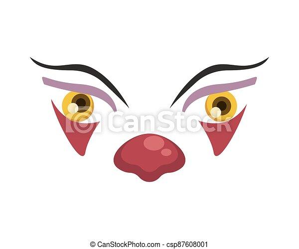 dark evil clown face halloween character - csp87608001