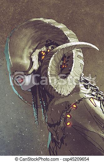 dark fantasy human creature with curled horns - csp45209654