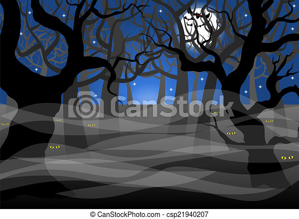 vector illustration of a dark ghostly forest and full moon rh canstockphoto com Scary Pumpkin Clip Art Cute Ghost Clip Art