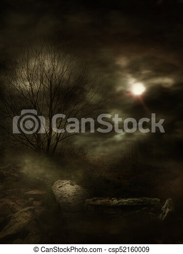 Dark Gloomy Landscape - csp52160009