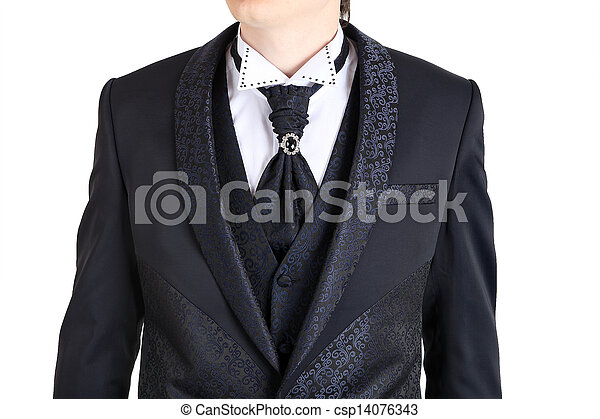 Dark gray mens wedding suit, printed with flowers, one... stock ...
