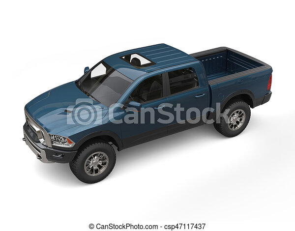 Dark Green Blue Modern Pick Up Truck
