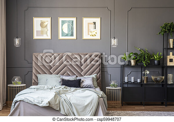 Dark Grey Bedroom Interior With Wainscoting On The Wall King Size Bed With Soft Bedhead Three Posters And Metal Rack With Canstock